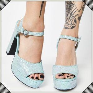 4419dc89db6 Sugar Thrillz Shoes -   Glitter Platform Heels   Mint Green Chunky Heel